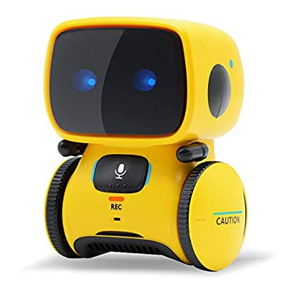 Yocuby Robot Toy, Interactive Toy Smart Robotics with Voice Controlled Touch Sensor,Dancing,Singing,Voice Recording,Repeating,LED Eyes.Educational Learning Toys for Kids, Gift for Kids Age 3+ (Yellow)