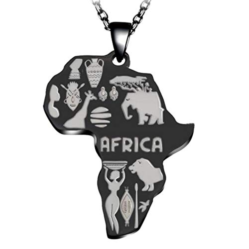 Bontand Punk Rock Edelstahl-Afrika-Karte Anhänger Halskette Für Frauen-Mädchen Afrikanischer Karte Hiphop Ketten 23inches Gliederkette