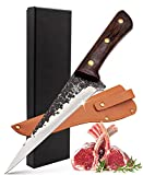 Forged Boning Knife with Sheath Meat Cleaver Butcher Knife, 5.5-Inch Razor Sharp High Carbon Stainless Steel Fish Fillet Knife with Pakkawood Handle for Butcher, Chef -ZENG JIA DAO Meat Knife with Box