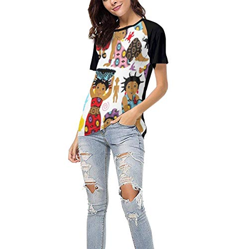 Womens Casual T-Shirt Workout Tops Wax African Girls Clothes Baseball Tee for Girls Clothes Short Sleeve Shirts,S
