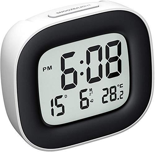 Reloj Despertador Digital con Luz de Noche, Reloj de Viaje con Pilas, Zumbador Alarma, Fecha, Temperatura, Función Snooze, 12/24 Horas, Fácil de Llevar, para Dormitorio Oficina Viaje