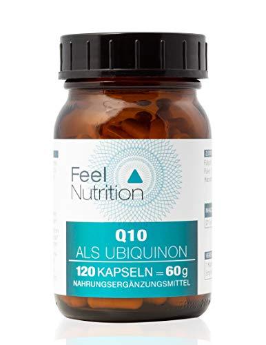 Coenzym Q10 Ubiquinon - IM GLAS, OHNE WEICHMACHER - Pro Kapsel 120 mg Q10 als Ubiquinon - OHNE Magnesiumstearat - vegan & hochdosiert - 120 Kapseln - Deutsche Premiumqualität