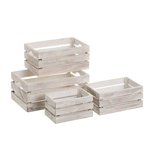 Set de 4 Cajas Multiusos de Madera MDF Blanco - LOLAhome