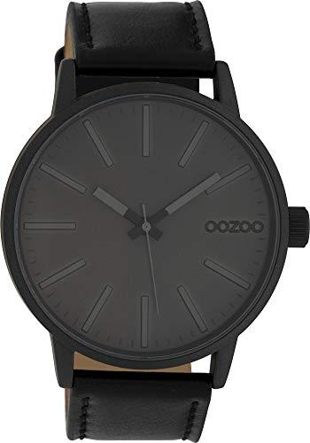 Oozoo Herrenuhr mit Lederband 45 MM Black/Dunkelgrau/Schwarz C10014