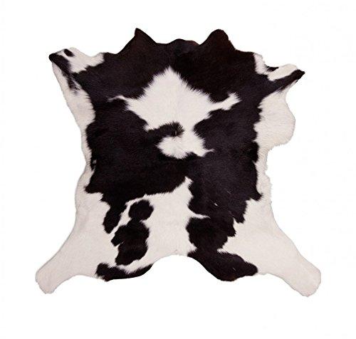 HomeStylist Tappeto in pelliccia di mucca / vitello / toro - nero - bianco - vera pelle - solida e resistente - per il muro, come tappeto o arredamento - sotto sedie, tavoli o semplicemente davanti al letto, 70 - 80 cm