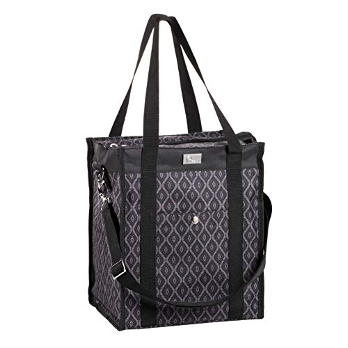 Pursetti Utility Tote Bag (North-South Style) - Perfect as Commuter Bag with Exterior & Interior Pockets for Working Women, Teachers, Nurses and More (Black Trellis)
