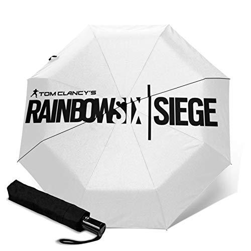 Rainbow Six Siege Logo Automatic Tri-Fold Umbrella Parasol Sun Sunshade Travel Umbrella Waterproof Umbrella for Sun Rain