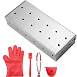YK GDYORKITCHEN Smoker Box - Stainless Steel Gas Grill Smoker Box for BBQ Grill Wood Chips, Free Silicone Brush & 7 Inch Silicone Tong and Bonus Silicone Glove & Silicon Oven Mitt - for Gifts