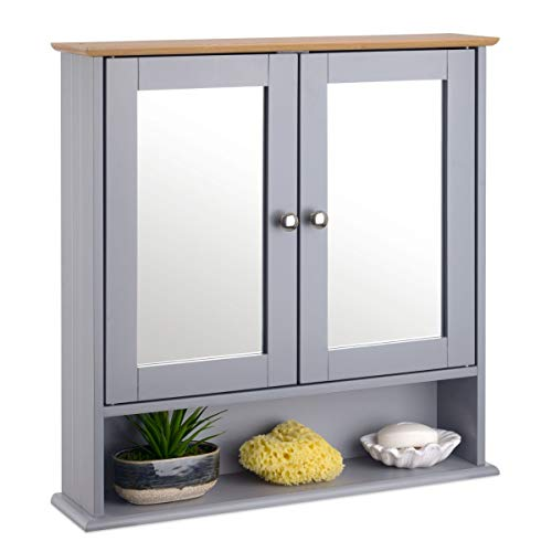 Christow Grey & Bamboo Double Mirror Wall Mounted Cabinet, Wooden Bathroom Storage Furniture, 2 Door Cupboard Unit With Shelf