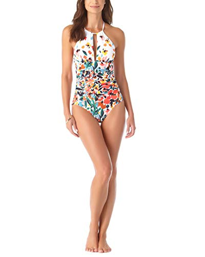Anne Cole Women's High Neck One Piece Swimsuit, Sunset Floral, 10
