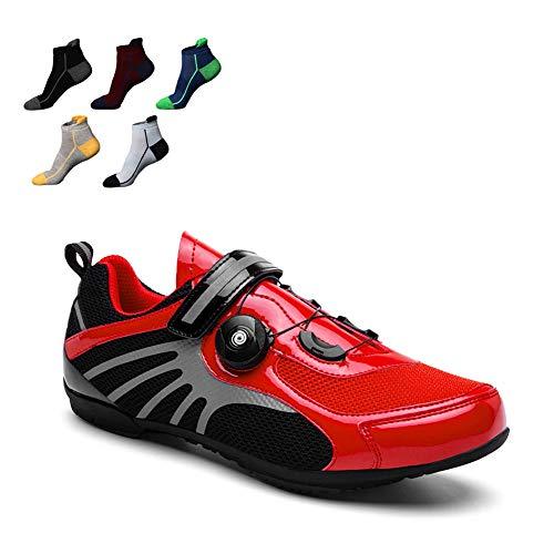 YZJYB Calzado De Ciclismo Profesional Zapatillas De Bicicleta De Montaña para Bicicleta Equipo De Viaje para Exteriores con 5 Pares De Calcetines Deportivos,Rojo,43