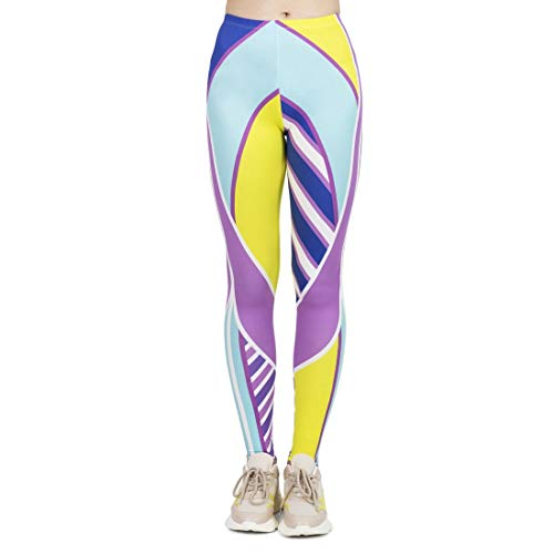 Kukubird Printed Neon Color Patterns Women's Yoga Leggings Gym Fitness Running Tights Size 6-10 Stretchable