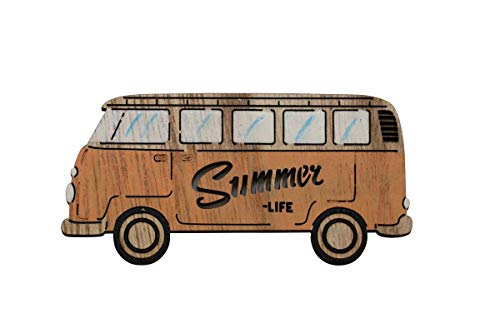 GLOREX 6 7103 408 Holzdeko, Bus gelb 10, 5x5cm, mehrfarbig