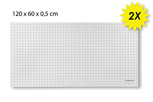 Werkzeugwand aus Holz - 120 x 60 x 0,5 cm - Lochung Ø7 mm - MDF weiß lackiert (2)