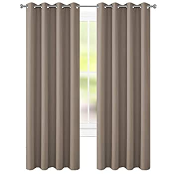 FLOWEROOM Blackout Curtains Thermal Insulated Draperies with Grommet for Bedroom Taupe 52 x 84 inch 2 Panels