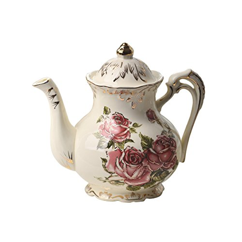 Tetera de cerámica con diseño de rosa roja, marfil, estilo vintage, con bordes dorados, 76,2 g, regalo para mujer