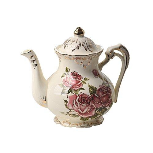 YOLIFE Keramik-Porzellan-Kaffeekanne, elfenbeinfarbene Keramik-Vintage-Teekanne mit goldfarbenem Blätterrand (rotes Rosenmuster)