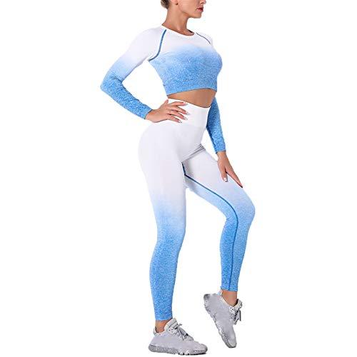 Conjunto de Ropa Fitness Deportiva para Mujer, Gradiente de las mujeres Color Tie Dye Traje de juego Conjunto de 2 piezas Trajes Sin fisuras Cintura alta Sexy Leggings de manga larga Camisetas de yoga