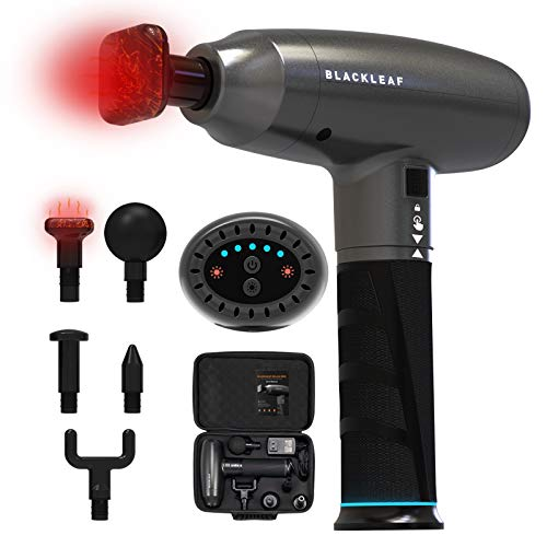 Heated Massage Gun with 5 Massage Heads and 5 Powerful Speeds, Hot Compress Deep Tissue Percussion Muscle Massager with Portable Case for Gym Office Home Post -Workout Pain Relief