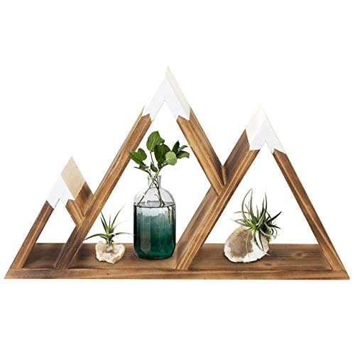 Gibbous Nimbus Wooden Mountain Shelf - Mountain Wall Decor for Nursery Wall Decor - Wooden Crystal Shelf - Rustic Wood Triangle Hanging Shelves for Rustic Cabin Decor and Travel Decor