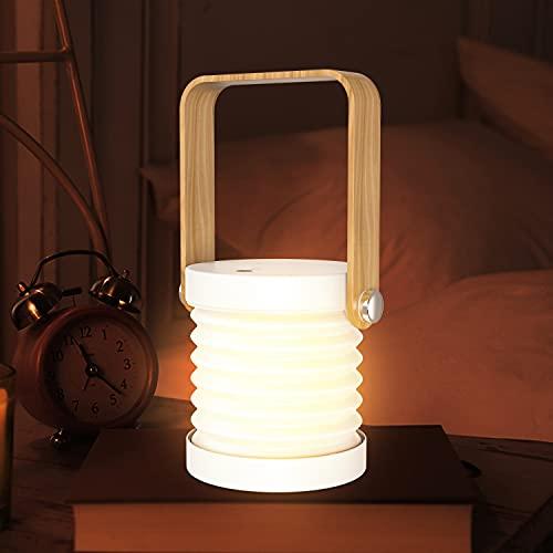 SANON Tischlampe LED Nachttischlampe, 3 Modi Faltbar Nachtlicht Laterne Tragbar Laternenlicht NachttischLeuchte Campinglampe für Schlafzimmer Wohnzimmer Camping