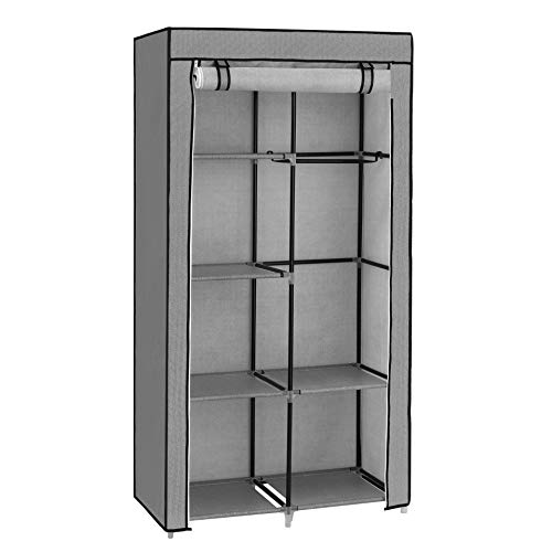 SONGMICS Fabric Wardrobe, Clothes Storage Organiser, 6 Shelves, 2 Hanging Rails, Non-Woven Fabric, Metal Frame, 88 x 45 x 168 cm, for Bedroom, Dressing Room, with Herringbone Pattern, Grey RYG084G22