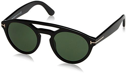 Tom Ford FT0537 01N 50 gafas de sol, Negro (Negro LucidoVerde), 50.0 Unisex Adulto