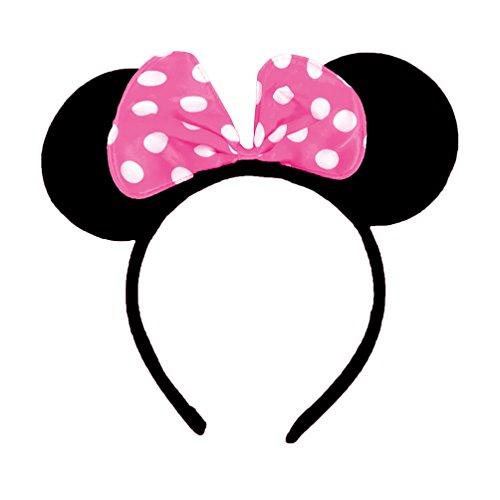 Oblique-Unique® Haarreifen mit Maus Ohren und Schleife - Rosa Weiß gepunktet