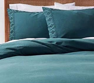 Opalhouse Border Garment-Washed Embroidered Tribal Aztec Duvet Cover Sham Set Teal Twin XL