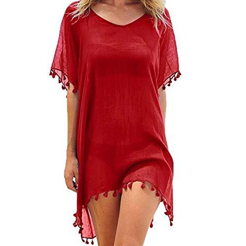 ECOMBOS Damen Strandkleid - Bikini Cover Up Strandponcho Sommerkleid Sommer Bademode Longshirt Tunika Strand Pareo (Rot)