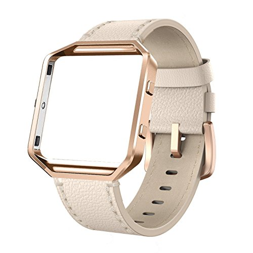 SWEES Leather Bands Compatible with Fitbit Blaze Smart Watch, Genuine Leather Replacement Band with Metal Frame Small & Large for Women Men, Champagne Gold, Rose Gold, Black, Brown, White, Grey, Beige