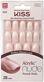 Kiss Salon Acrylic Nude French Nails 28 Count (Graceful) (3 Pack)