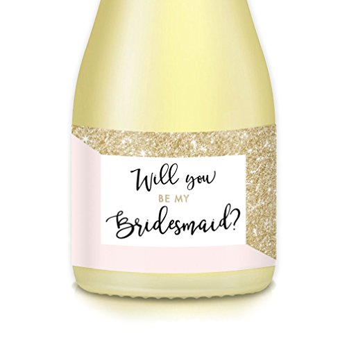 "Future Mrs. Asks Bridesmaid, Maid Matron of Honor Wedding Party with Pink & Gold Mini Champagne Bottle Labels, Set of 10 Gift Bag, Box Decals 3.5"" x 1.75"" Engagement Bachelorette Party Favor Stickers"