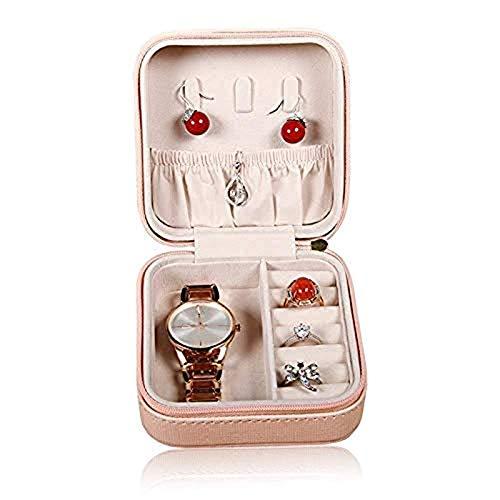 Uymkjv Caja de joyería de Cuero y Cuero para Hombres y Mujeres, aretes, Caja de Almacenamiento para Collar, Caja pequeña de A