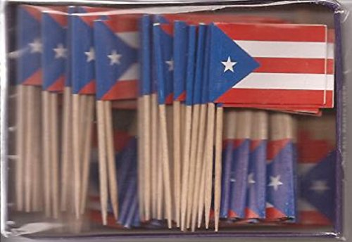 25 Box Wholesale Lot of Puerto Rico Toothpick Flags, 2500 Small Puerto Rican Flag Toothpicks or Cocktail Picks