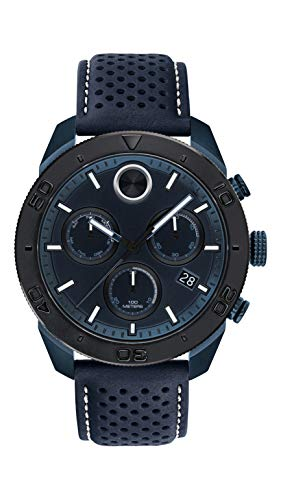 Movado Men's BOLD Sport PVD Chronograph Watch with a Printed Index Dial, Black/Blue (Model 3600516)