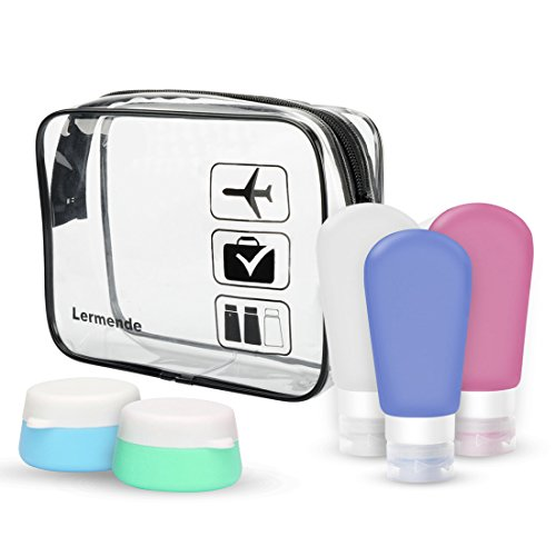 Lermende Portable Soft Silicone Travel Bottles Containers Set with Clear Toiletry Bag TSA Approved Carry On Airport Airline Compliant Bag Quart Sized Leakproof Pouch (With 3 Bottles + 2 Jars)