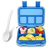 Bento Box für Kinder Lunchbox Auslaufsicher Lunch-Boxen Brotdose mit Unterteilungen (Dunkelblau)
