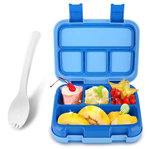 Fiambrera Niños Infantil con 4 Compartimentos Bento Lunch Box con Cuchara Segura Ideal para Escuela Excursiones Merienda