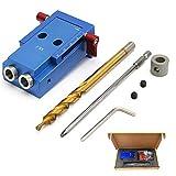 Kit de carpintería para taladro de aleación de aluminio, guía oblicua para carpinteros, herramienta de ángulo de unión de madera con broca de taladro de paso, destornillador y punta de tornillo