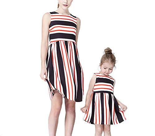 Yuyudou familie bijpassende jurk, mama en dochter outfits casual drukstrepen mouwloos vest midijurk zomer strandparty pak,