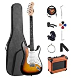 ADM Electric Guitar Beginner Kit 39 Inch Full Size Sunburst, Starter Package with Amplifier, Bag, Strap, String, Tuner, Cable and Picks (Sunburst)