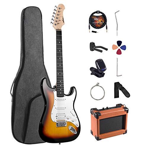 ADM Electric Guitar Beginner Kit 39 Inch Full Size Sunburst, Starter Package with...