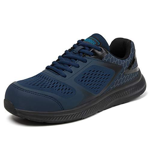 PAMRAY Zapatos de Seguridad Hombre Zapatillas Trabajo Punta Acero Ligero Anti-pinchazos Construcción Sneakers Transpirable Azul 42