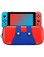 MoKo Carrying Case for Switch, Portable Protective Hard Shell Cover Travel Carrying Case Storage Bag with 10 Game Cartridge Holder for Switch Console – Red + Blue