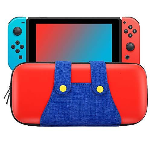 MoKo Funda Compatible con Nintendo Switch, Mario Estuche de EVA + PU Portátil Ligero Protector para el Panel del Control de Nintendo Switch con 10 Puestos de Cartucho de Juego – Rojo + Azul