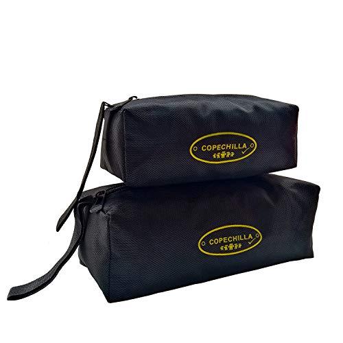 Copechilla borsa porta attrezzi portatile 2PCS,Grande: 25X10X10CM, piccolo: 20X8X7CM,Materiale di 1680D ad alta densità impermeabile resistente all'usura,con cinturino sospeso e cerniera,Nero