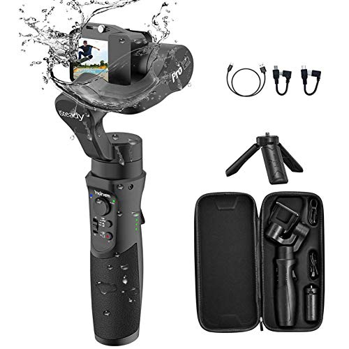 3-Axis Gimbal Stabilizer Action Cameras Gimbal Splash Proof Compatible with GoPro 2018 7/6/5/4/3,DJI Osmo Action, RX0, AEE, SJCAM, YI-CAM, 12 H Run time,Auto Panorama-Hohem iSteady Pro 2