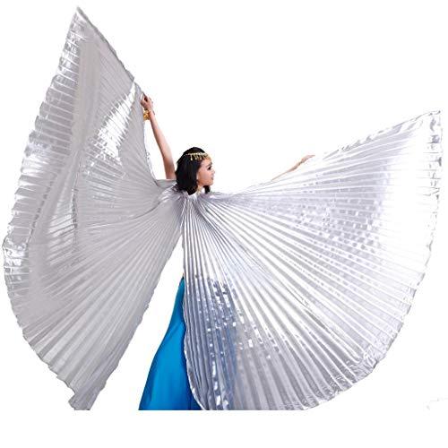Wuchieal Öffnung Bauchtänzerin Isis Flügel Dancing Requisiten Kostüm mit Stöcke Tasche (Silber, One Size)