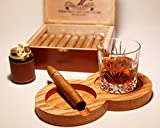 The Kentucky Double Solid Oak Cigar Ashtray Coaster/Whiskey Glass Tray and Cigar Holder, Wooden Cigar Ashtray, Slot to Hold Cigar, Cigar Rest, Cigar Accessory Set Gift for Men